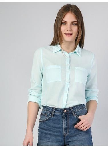Colin's Slim Fit Shirt Neck Kadın Sarı Uzun Kol Gömlek Yeşil